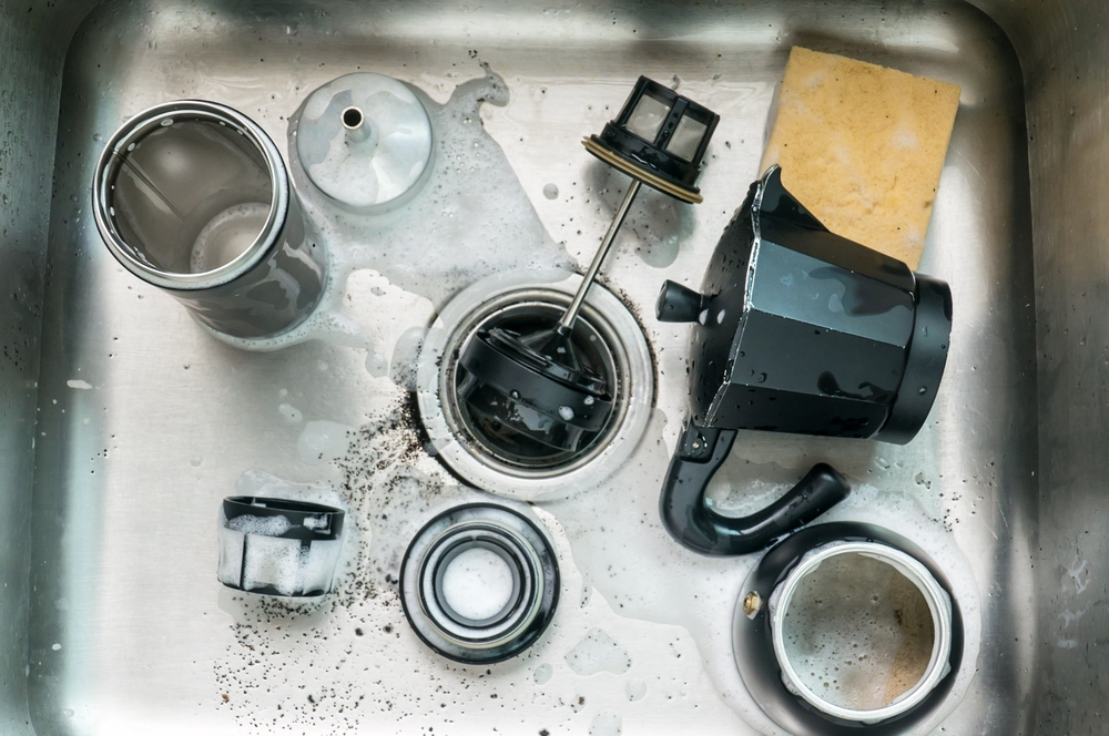 coffee grounds in sink